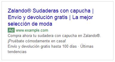 """Ejemplo de anuncio para la búsqueda """"sudaderas con capucha"""" - Campañas de Google Ads"""