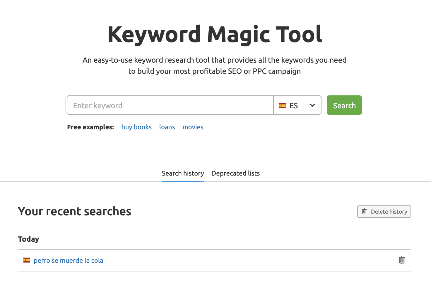 Buscar palabras clave con SEMrush Keyword Magic tool - Histórico