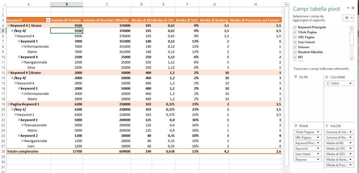 Organizzare tutti i dati sulle keyword in una tabella pivot