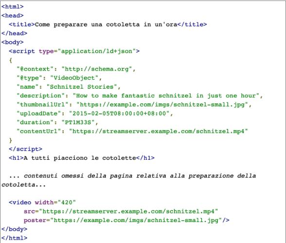 Linguaggio JSON-LD da inserire per ottimizzare i contenuti video