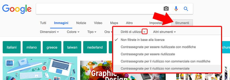 Google immagini - diritti di utilizzo