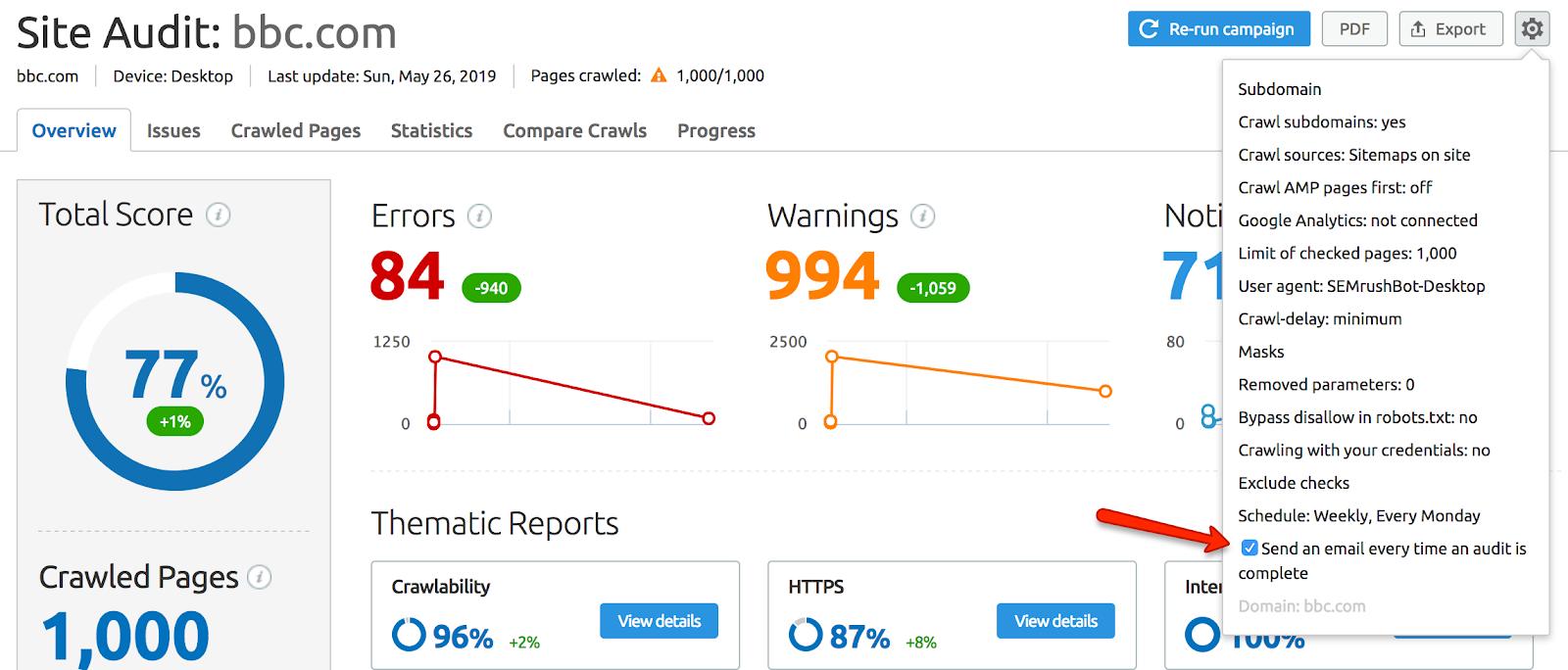 Site Audit - Notifications