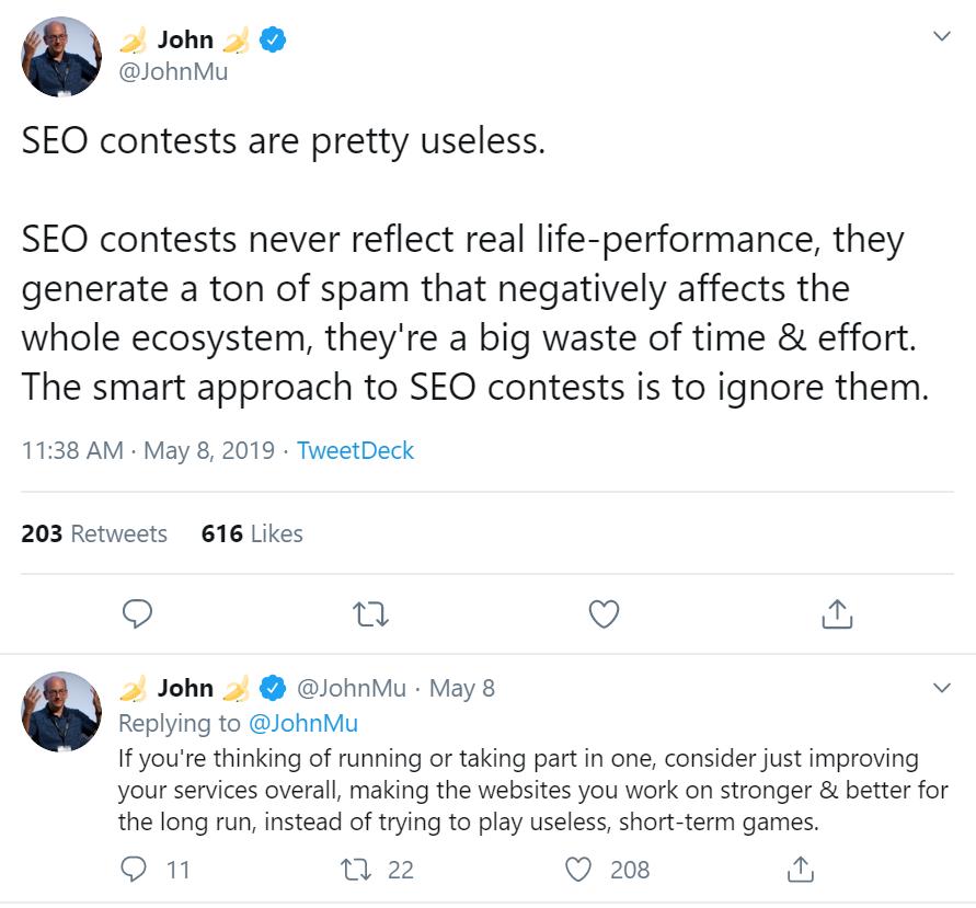 John Mueller's tweet about SEO Contests