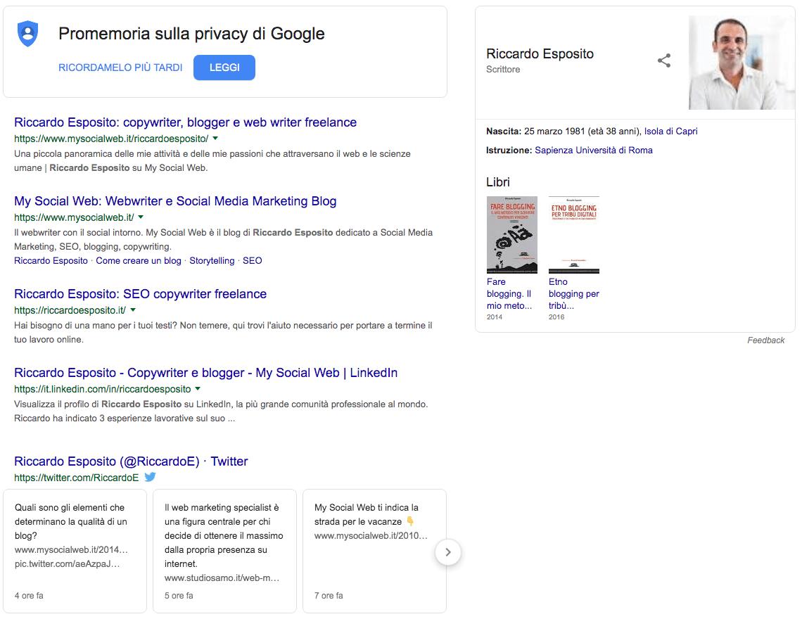 Ottimizzazione di pagine per ricerca personale (brand)