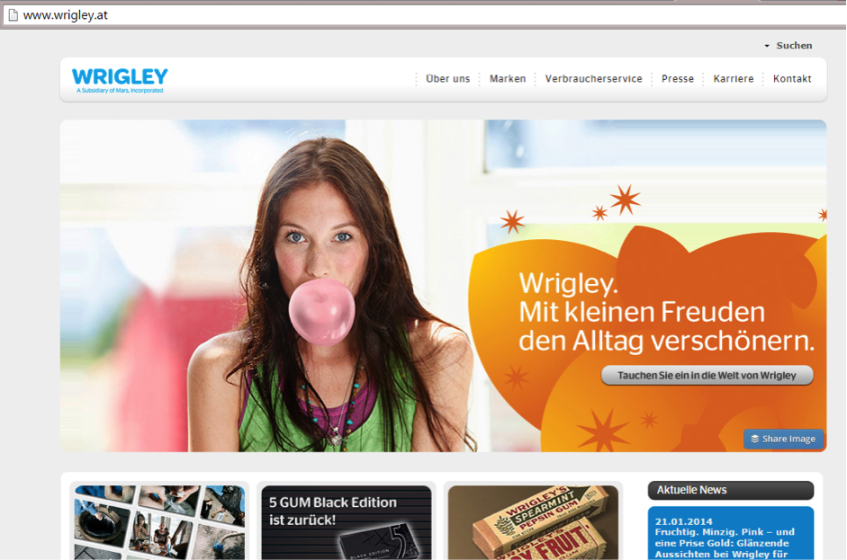 Wrigley Austrian Website