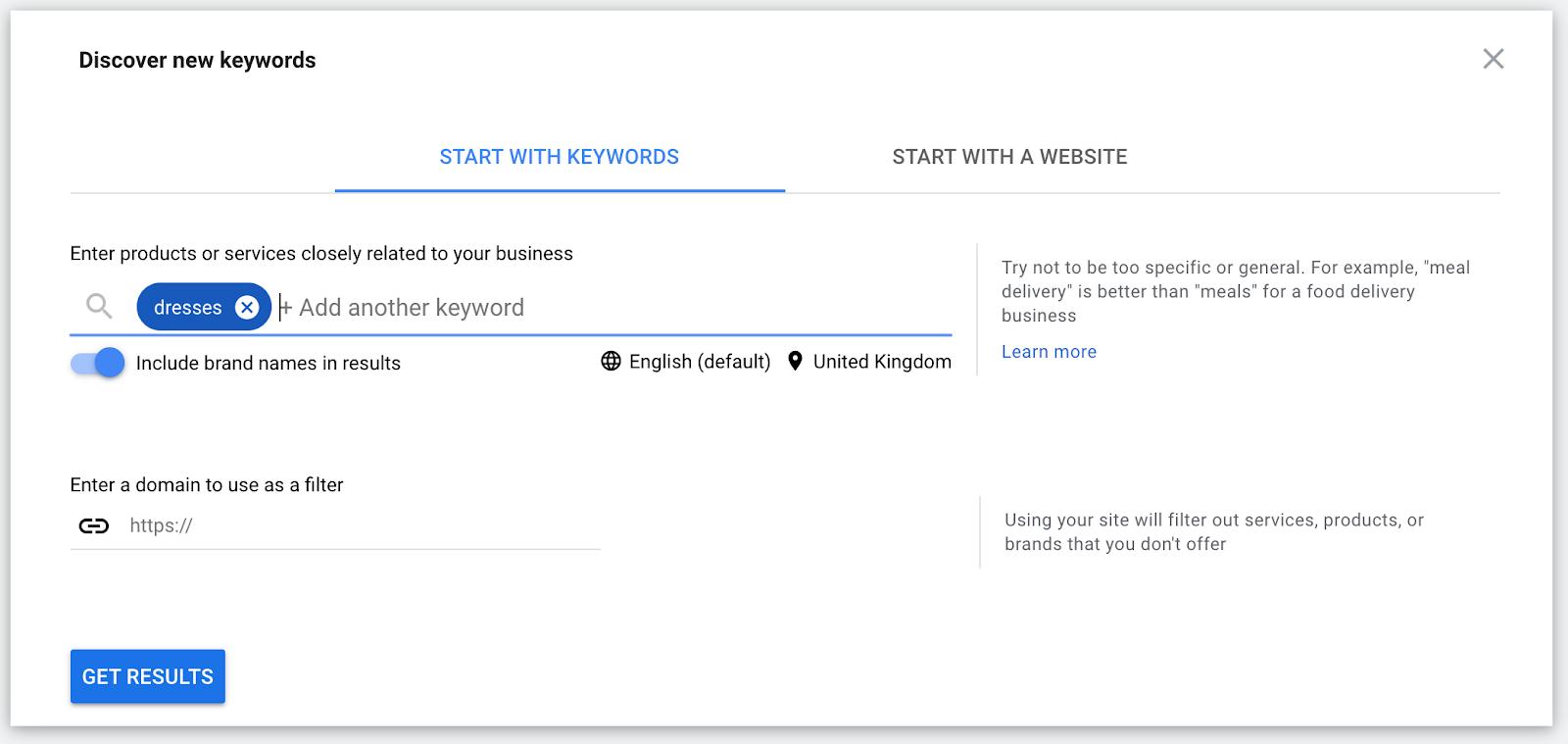 Keyword planner finding keywords