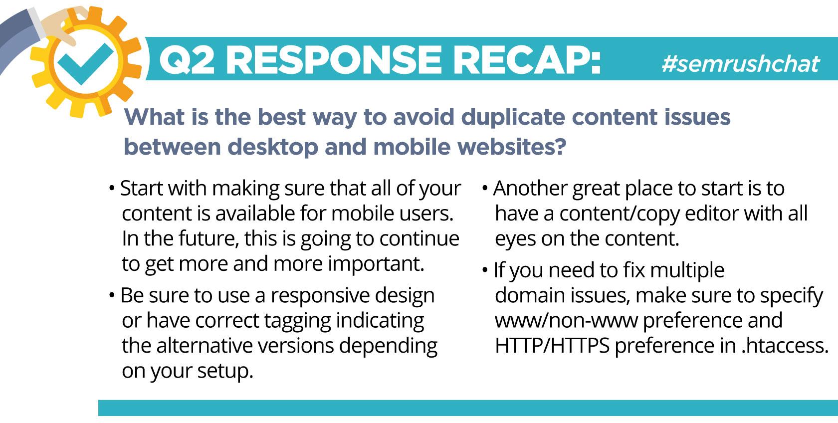 Q2 Response Recap