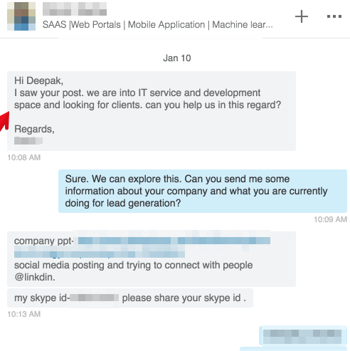 LinkedIn messages example 2.