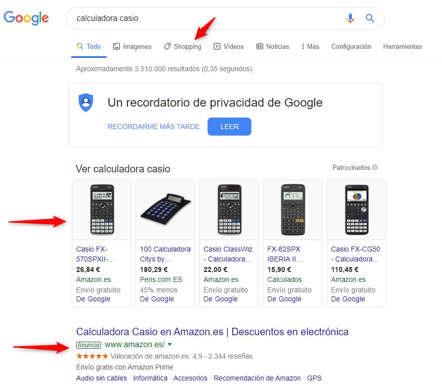 Google shopping y Black Friday - Ejemplo búsqueda Casio