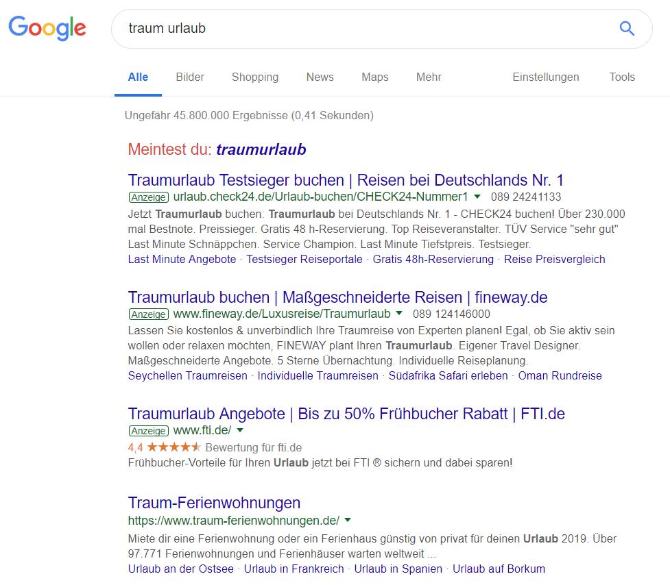 Google-Suche nach 'traum urlaub'