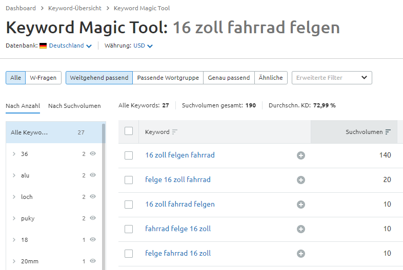 Longtail-Keyword im Keyword Magic Tool von SEMrush