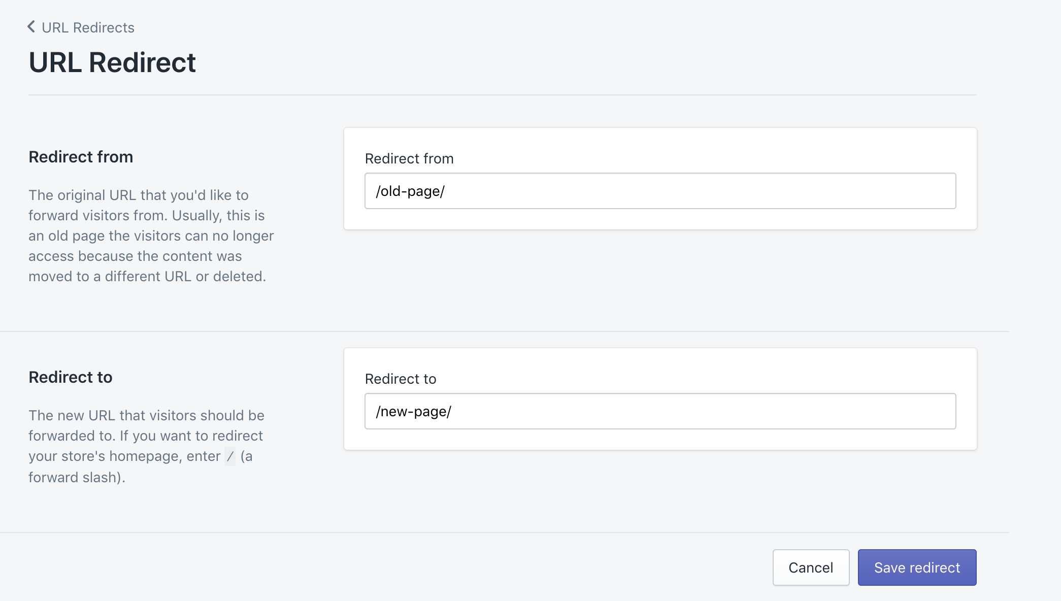 Shopify URL Redirect fields to add URLs