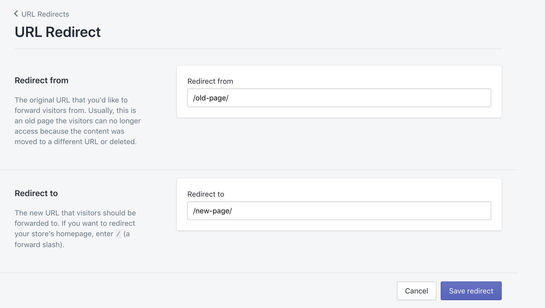 Die ursprüngliche und neue URL für eine 301-Weiterleitung eintragen in Shopify