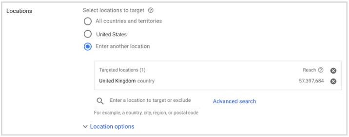 Google Ads Settings Locations