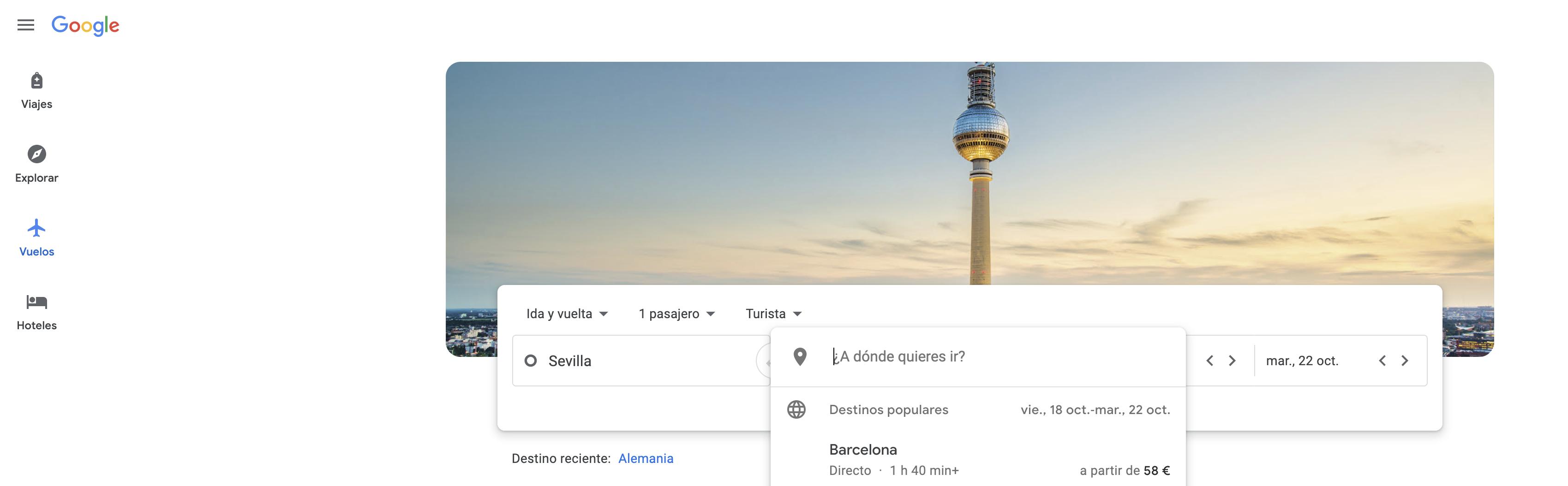 Búsqueda avanzada en Google - Vuelos