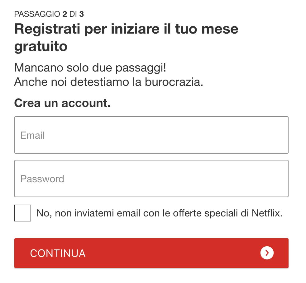 Esempio di Microcpy: la pagina di registrazione di Netflix