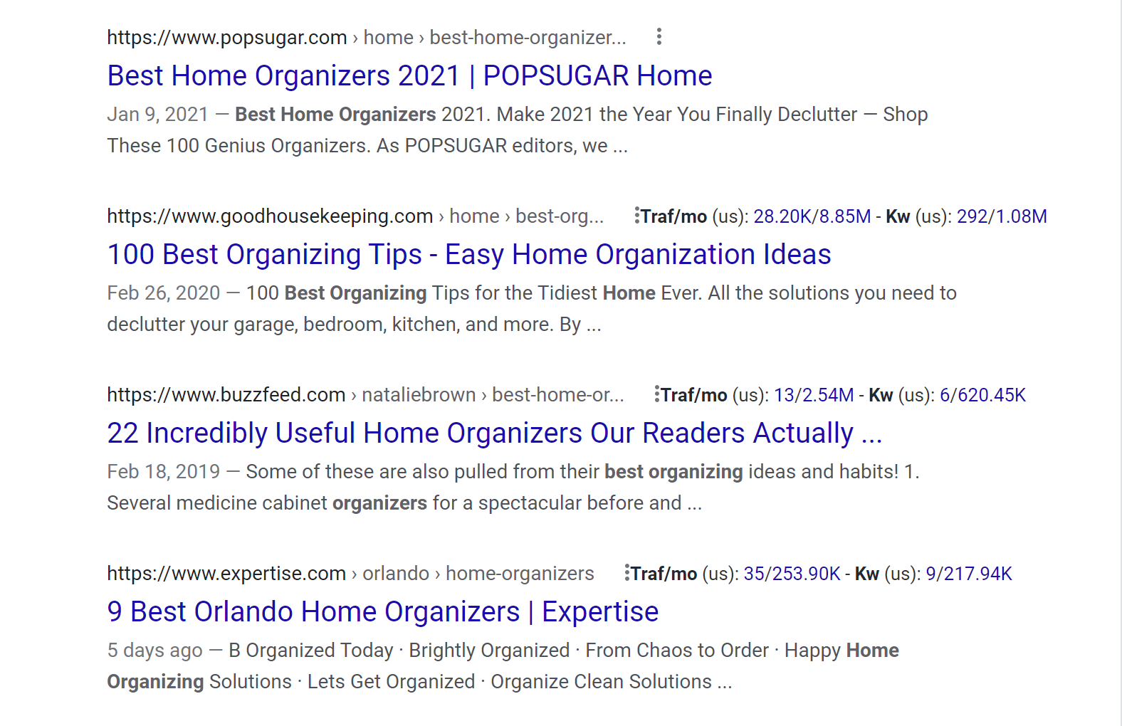 best home organizers serp