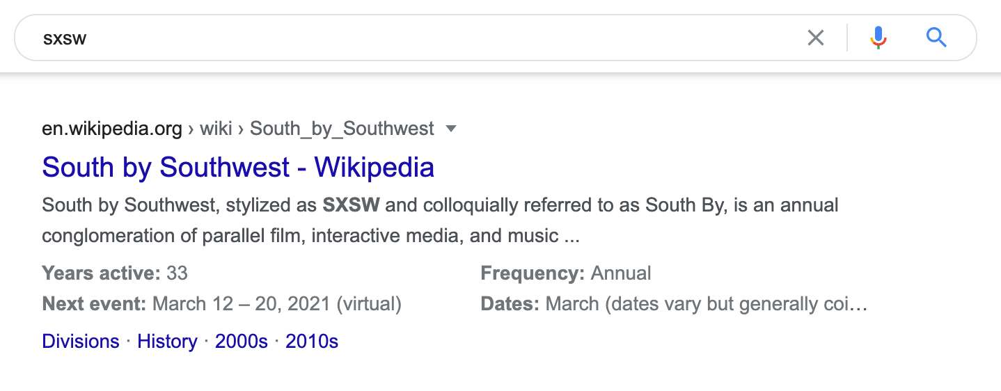 sxsw event snippet markup