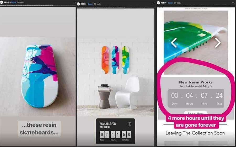 Pubblica delle vendite flash per stimolare gli acquisti d'impulso su instagram