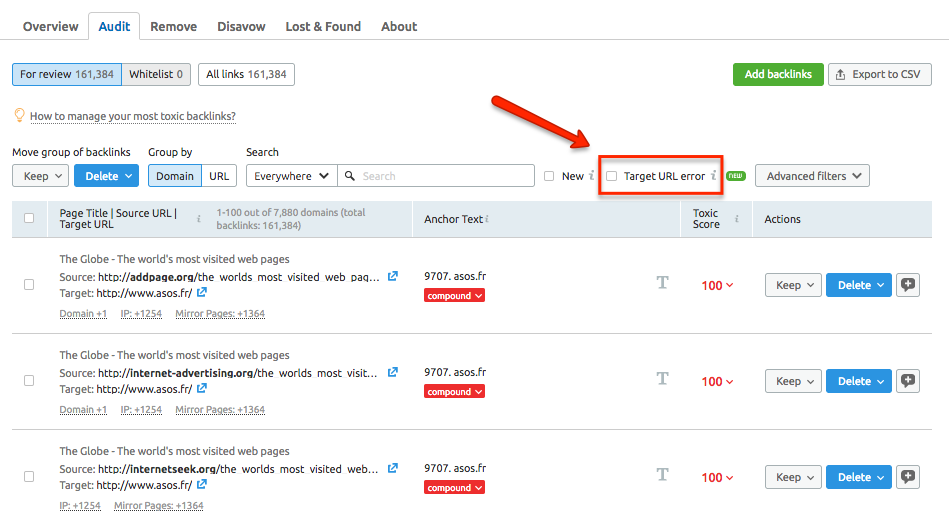 Target URL error filter in Backlink Audit