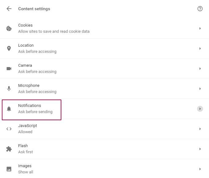 Push notification settings