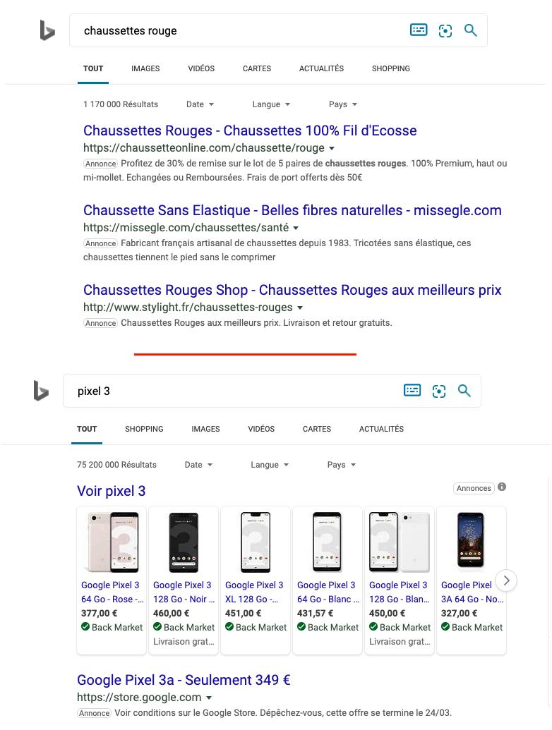 Les annonces sur Bing