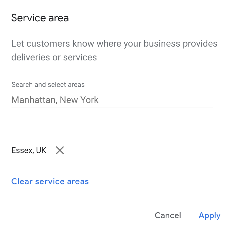 GMB Service Areas options