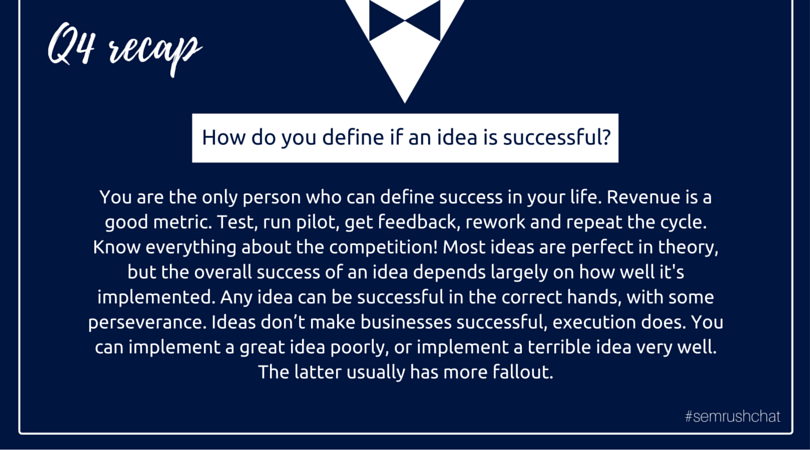 criteria of successful idea