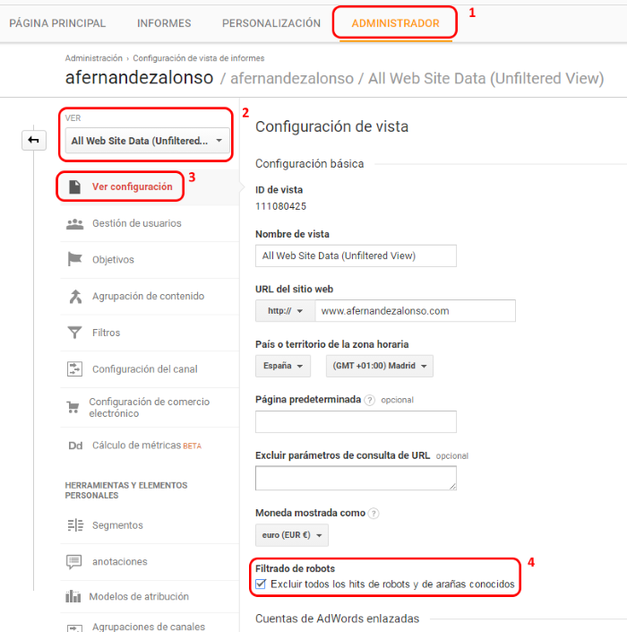 Cómo filtrar rastreadores conocidos en Google Anaytics