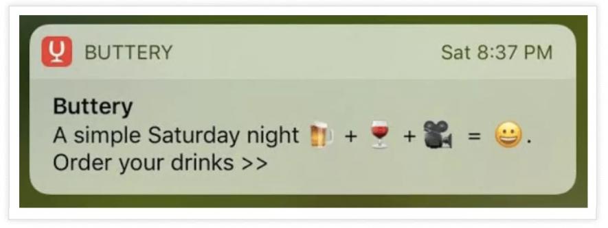 Esempio di notifiche push con emoji di Buttery