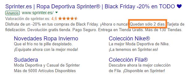 Ejemplo de función IF de cuenta atrás - Campañas de Google ads