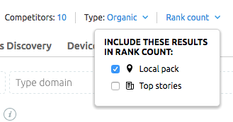 Rank count menu in SEMrush Position Tracking