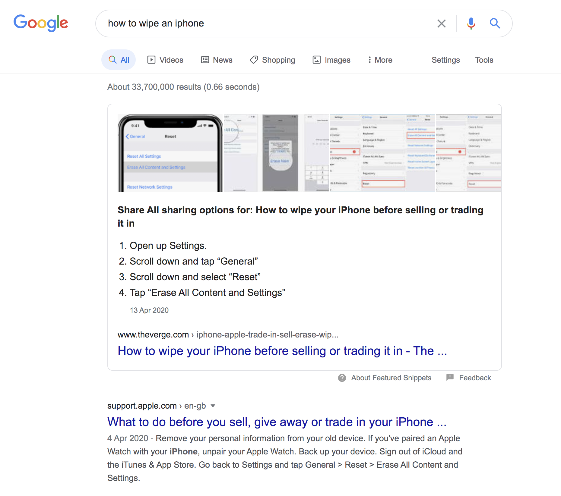 How to wipe an iPhone featured snippet screenshot