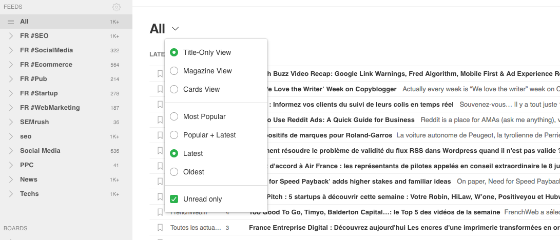 feedly all news