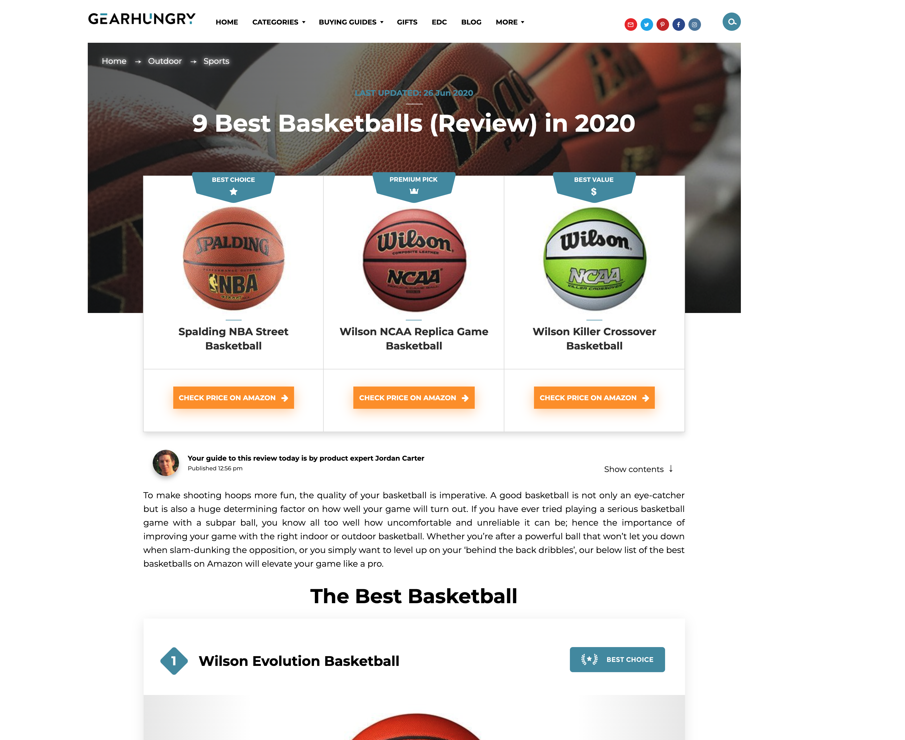 GearHungry 9 Best Basketballs buying guide screenshot