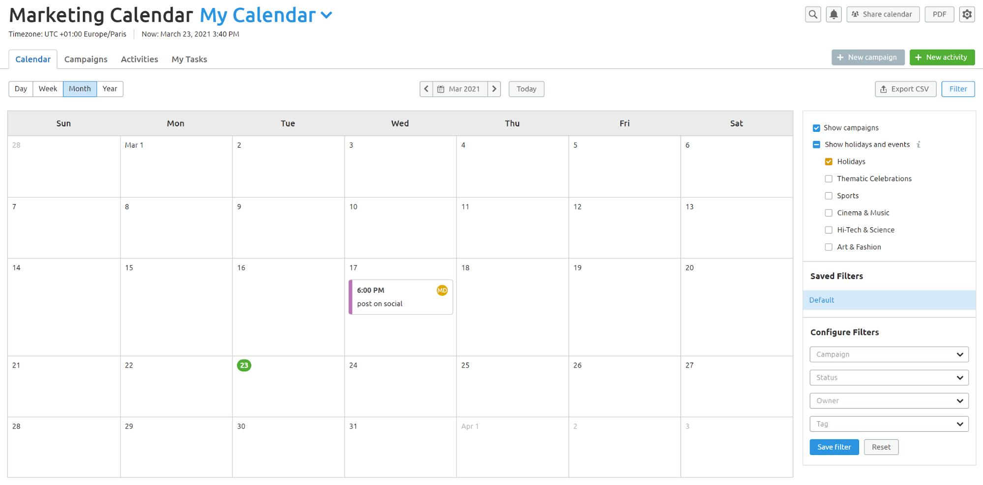 Agency Project Management Software. Calendar