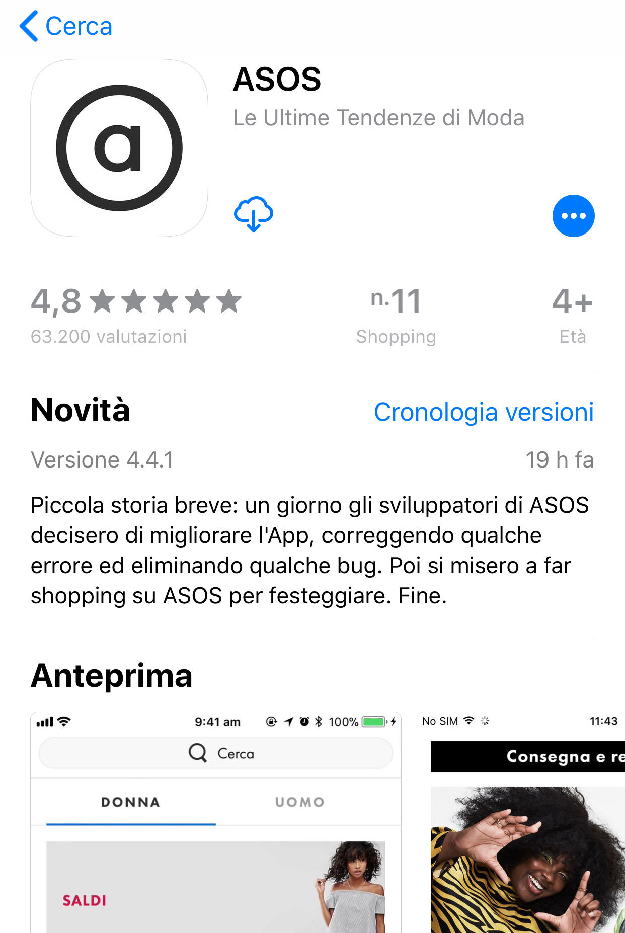 La pagina di Asos su AppStore: guarda che microcopy ha usato