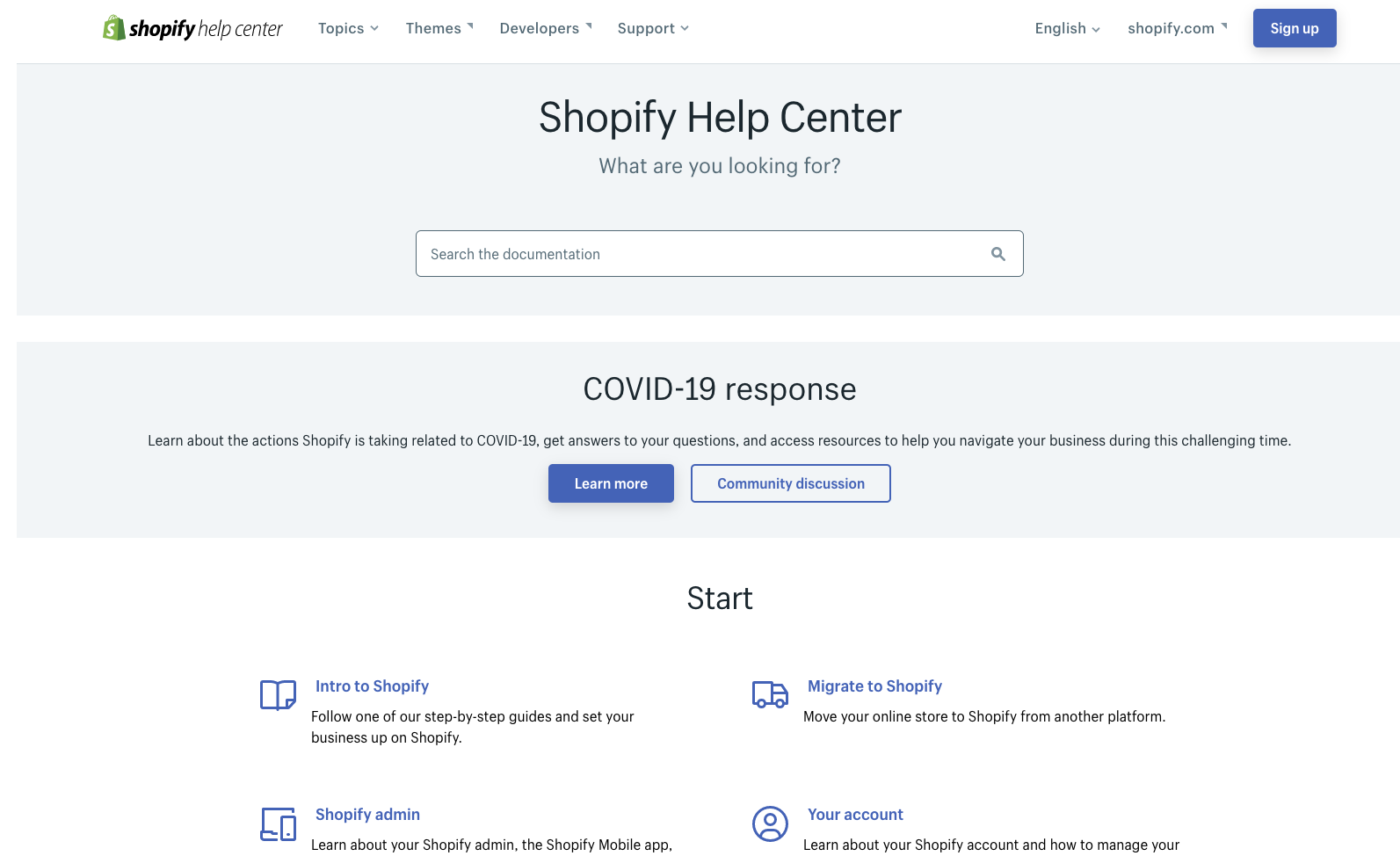 Shopify help center page