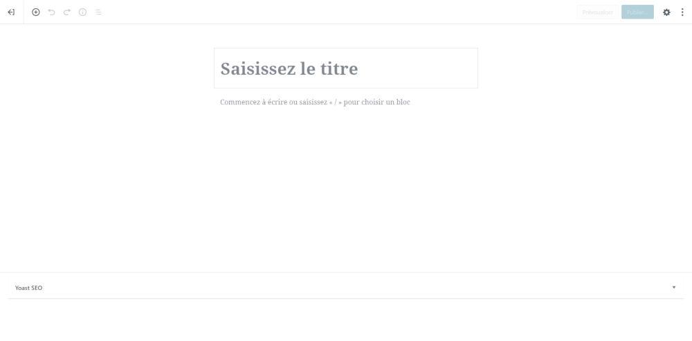 Gutenberg de WordPress : interface minimaliste