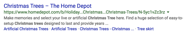 Screenshot of rich result for Christmas trees at The Home Depot