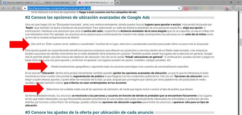 Qué es un Adblock: Ejemplo bloqueo en blog Ignacio Santiago