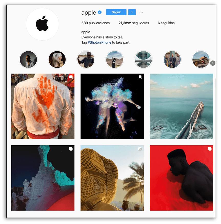 Presencia visual en redes sociales - Ejemplo Apple