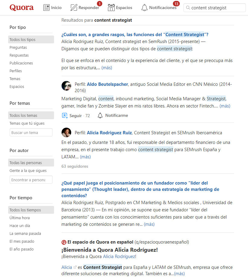 Long tail keywords - Content strategist en Quora