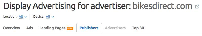 SEMrush Display Advertising Publishers