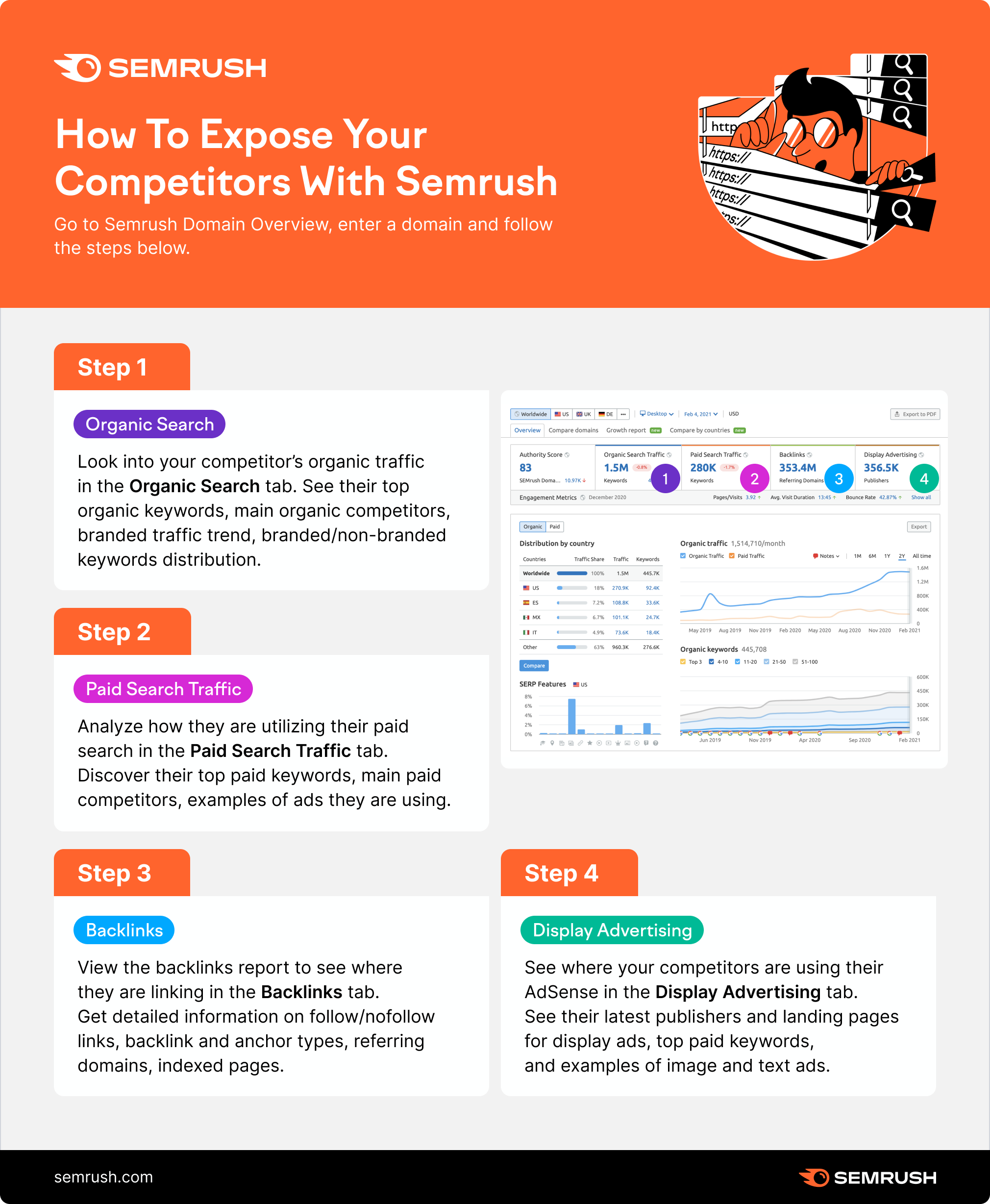 Exposing competitors with Semrush Domain Overview