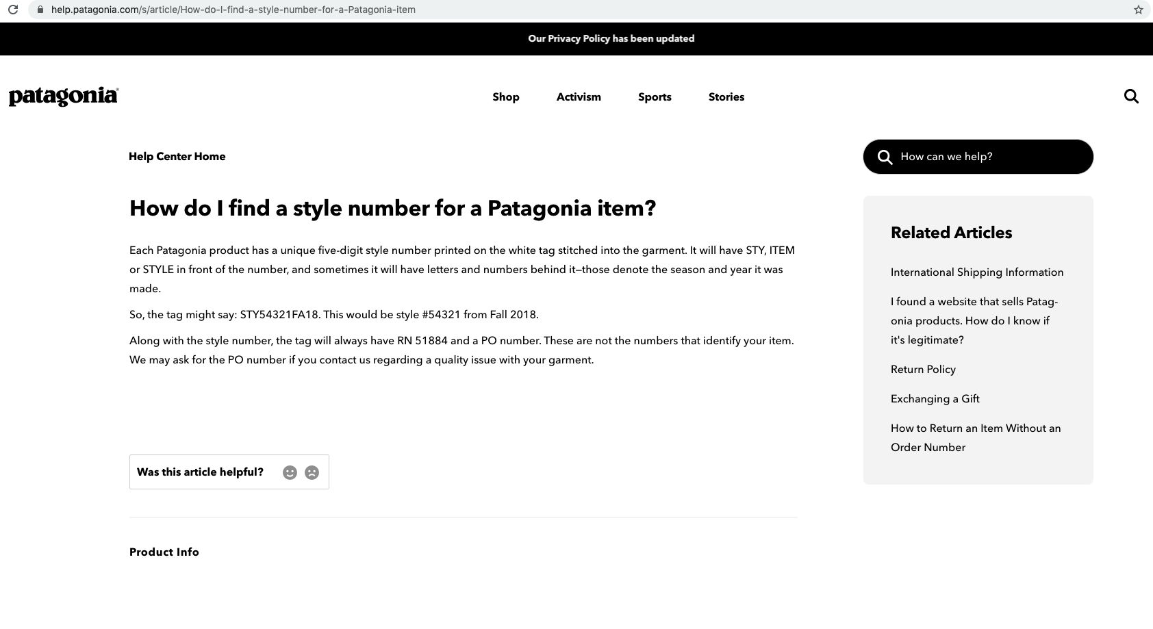 Patagonia Q&A example