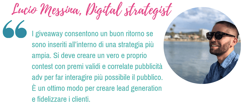 Lucio Messina, digital strategist: i giveaway sono consigliabili?