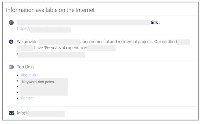 link al tuo sito su directory aziendali