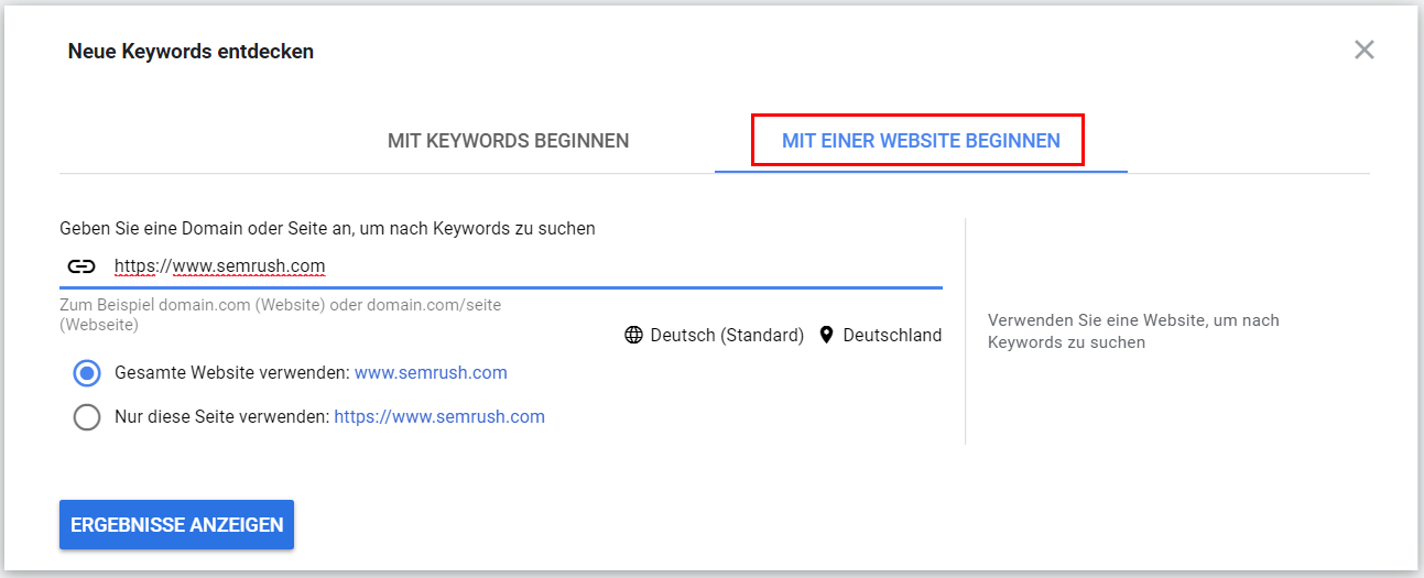 Google Ads Keyword-Planer: Mit Website beginnen