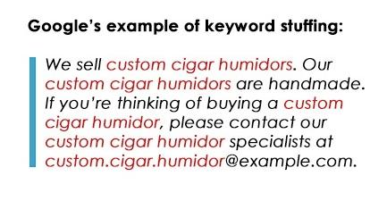 che cos'è il keyword stuffing: un esempio